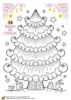 Free printable Advent tree (ornaments to colour, cut and glue at same blog)