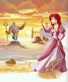 the little mermaid, disney, ariel and triton Ariel Disney, Walt Disney, Princesa Ariel Da Disney, Disney Little Mermaids, Ariel The Little Mermaid, Disney Dream, Disney Girls, Disney Magic, Mermaid Disney