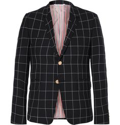 Mr. Thom Browne is the man who made suits cool again. Tailored in the designer's signature 'shrunken' profile, this wool blazer is designed with notch lapels, a three-button fastening and a handsome windowpane check. Subtle nautical-themed details, like the striped lining, engraved anchor buttons and the trademark tricolour grosgrain trim on the cuffs, complete t...
