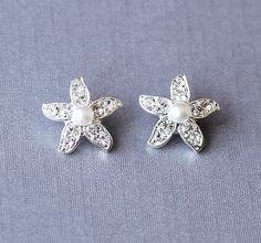 25 off Bridal Rhinestone and Pearl Starfish Stud by LXdesigns, $18.00