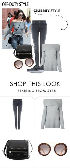 """""""off-duty celebrity style"""" by faten-m-h ❤ liked on Polyvore featuring Hudson Jeans, T By Alexander Wang, Givenchy, Prada, NIKE and offduty"""