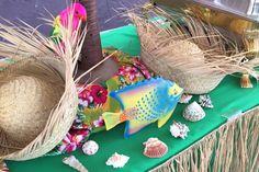 Hawaiian buffet decor for a corporate picnic. Paper Table, Picnic Time, China Plates, Table Covers, Hawaiian, Buffet, Mason Jars, Recycling, Fun