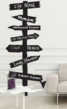 The Hobbit Tolkien city inspired road sign Vinyl wall Decal Fantasy Gandalf Bilbo Smaug Precious LOTR Mordor Sting One Ring Sauron Third age