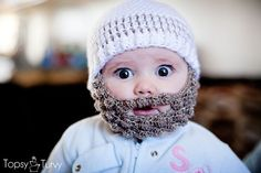 #Free #crochet pattern from Imtopsyturvy.com  This beard and hat set is super cute for the baby in this cold!
