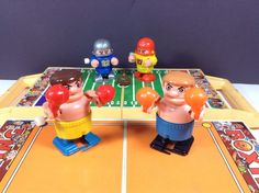 BUMBLING BOXING And FUNNY FOOTBALL Wind-Up Toy Robots TOMY FIGHTERS Game Vintage