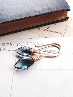 F o g... lovely faceted grey hydro quartz on gold earrings by CrowandIris