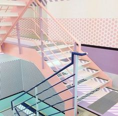 1980's Stairs, Color Blocking Interiors, Interior Design, Architecture, Retro, Designer, Inspiration, Color Blocking, Visual History of Color Blocking, h-a-l-e.com