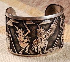 """Hopi (previously listed as Navajo) Engraved Silver Bracelet. Inscribed """"Joe Josytewa / Sterling"""""""