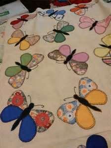 Image detail for -Vintage 1940s Butterfly Circle Quilt Top Hand Appliqued Lge Blocks ...