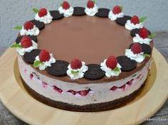 Oreo cheesecake with raspberries and chocolate, without baking - Hanna Cake Kiwi, Cheesecake Cupcakes, Cake Videos, Cheesecakes, Nutella, Caramel, Raspberry, Sweet Treats, Goodies