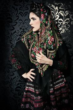 """Russian style by Lena Hoschek, a fashion designer from Vienna (Austria). """"Russian Rose"""" collection, autumn / winter 2013 – 14."""