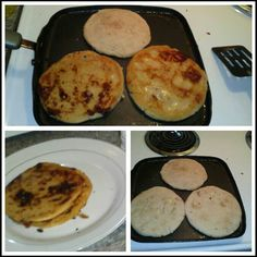 Pupusas Salvadorian food. Its a hand made patty/gordita/empanada...lol those are the similarities there compared too. Stuffed with meat & cheese on a grill or comal de tortilla.