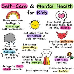 for KidsSelf-Care for Kids Coping Skills for Kids! A fun sorting collage worksheet school counseling intervention. Child and Teen Mental Health Caregiver Poster. by Mental Fills Counseling Tools Mindfulness For Kids, Mindfulness Activities, Mindfulness Training, Kids Mental Health, Health Education, Children Health, Improve Mental Health, Self Care Activities, Calming Activities