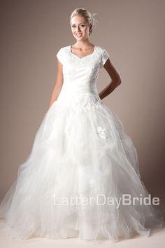 Modest Wedding Dress, Vincenza | LatterDayBride & Prom. Modest Mormon LDS Temple Dress