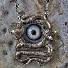 Snake Eye Goth Steampunk Necklace by oscarcrow on Etsy, $45.00