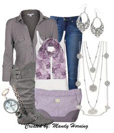 feat. Premier Designs jewelry #pdstyle  white tank, grey shirt, grey boots, purple bag, purple scarf