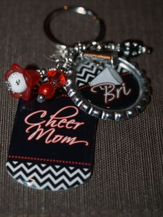 Personalized Cheer MOM Key Ring  Bottle Cap and by pixelilicious, $13.50