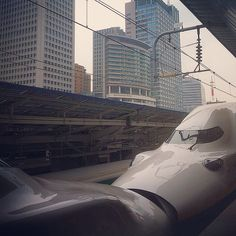 Pair of JR East double decker MAX Shinkansen at Tokyo Station, Japan
