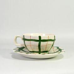 Vintage Midwinter Coffee Cup & Saucer - Homeweave Print - Jessie Tait Design - 1950s. £16.00