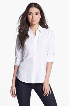 Foxcroft Long Sleeve Shirt (Petite) | Nordstrom (might work for busty women)