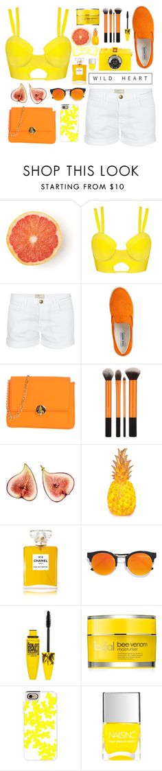 """""""Ulalia"""" by esthershere ❤ liked on Polyvore featuring Current/Elliott, Steve Madden, Camomilla, Chanel, LULUS, Maybelline, Rodial and Casetify"""