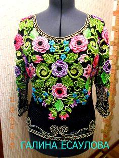 Ручная одежда блуза в технике ирландского кружева,52 размер