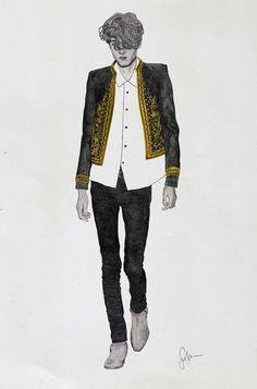 Saint Laurent Paris - fashion illustration by Gaston John Sevilla