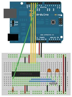 Arduino - How to use an Arduino as an ISP* programmer for a 2nd Arduino - programming of a minimalist breadboard implemented Arduino shown in picture. [ISP = In System Programmer - uses a 6 wire interface.] ---- HEY HEY!!! For more COOL ARDUINO stuff, check out http://arduinohq.com