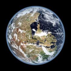ricostruzione dell'emisfero occidentale di Marte con oceani e nuvole.  Il Mons Olympus  è visibile all'orizzonte oltre i vulcani Tharsis  e i canyon Valles Marineris vicino al centro. Credito: Kevin Gill