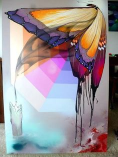Jeroo. Street art, butterfly & candle.