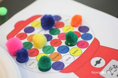 Gumball Machine Color Matching with Craft Pom Poms. Printable worksheets available! So cute and fun!! You can also use this activity for counting practice :) #printable #shapes #colors #kids #craft #DIY #preK #education #KidsFun