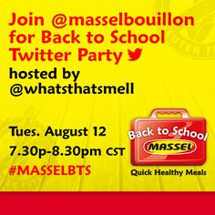 Join @masselbouillon for Back to School Twitter Party hosted by @whatsthatsmell Tues. August 12th, 7:30p-8:30p CST #masselBTS  We'll be sharing quick healthy recipes for back to school including lots of great gluten-free free recipes. Join us and share your favourite quick dinner ideas for your family.  Grand Prize! Win iPad mini & Massel gluten-free products