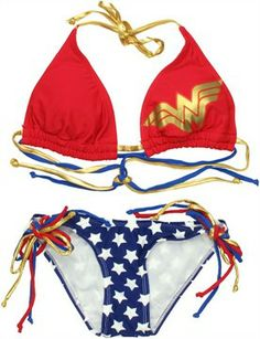 Wonder Woman Triangle String Bikini Swimsuit