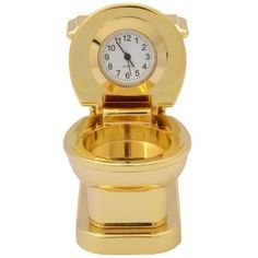 Golden+Novelty+Toilet+Themed+Miniature+Desktop+Mini+Clock