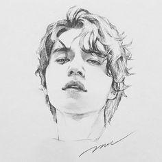 """고고일러스트 on Instagram: """"너무 다들 한번에 알아맞혀주셔서 뿌듯했던 #이동욱 나중에 짙은 머리카락 표현 더 하면 다시 올릴게요 :) 미완성의 느낌도 그 느낌대로 좋아해요. . . . #고고일러스트 #gogoillust #illust #illustration #drawing…"""" Kpop Drawings, Pencil Drawings, Art Drawings, Pencil Sketching, Eye Drawing Tutorials, Acrylic Painting Techniques, Drawing Sketches, Drawing Tips, Realistic Drawings"""