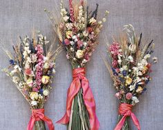 Fall Wedding  Bridesmaid Bouquet of Lavender Roses Larkspur Wheat and other dried flowers