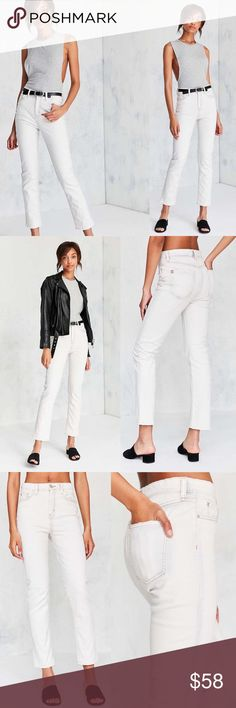UO BDG Girlfriend High Rise Ivory Jean White high rise girlfriend jean with contrast copper stitching. In soft stretch denim with a straight cropped ankle leg that's slim fit but relaxed. Finished with 5 pockets and zipper fly. Urban Outfitters Jeans Ankle & Cropped