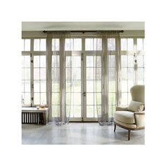 """Shimmer Metallic Sheer in Pewter-50"""" x 84"""" ($107) ❤ liked on Polyvore featuring home, home decor, window treatments, curtains, sheer window coverings, rod pocket sheers panels, shimmer curtains, pole pocket curtains and rod pocket sheer curtains"""