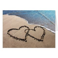 Summer Wedding Thank You Cards Two Hearts In The Sand Notecards Card