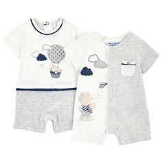 Комплект из 2 коротких комбинезонов - 173891 Little Boy Outfits, Baby Boy Outfits, Kids Outfits, Baby Boy Fashion, Toddler Fashion, Kids Fashion, Baby Boy Clothing Sets, Cute Baby Clothes, Kids Inspire