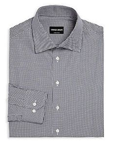 Giorgio Armani Gingham Checked Regular-Fit Dress Shirt - Navy Check -