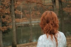 autumn, beautiful, fall, girl, gorgeous, hair, leave, leaves, nature, nice, photography, red hair, redhead, river, season, shirt, sweet, trees, way