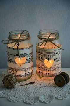 10 Vintage Sheet Music Glass Jars – Wedding Decorations Candles Five Dock Canada Bay Area image 2 is creative inspiration for us. Get more photo abo… 10 Vintage Sheet Music Glass Jars – Weddi… Mason Jar Projects, Mason Jar Crafts, Bottle Crafts, Crafts With Glass Jars, Vintage Sheet Music, Vintage Sheets, Sheet Music Crafts, Sheet Music Decor, Music Sheets
