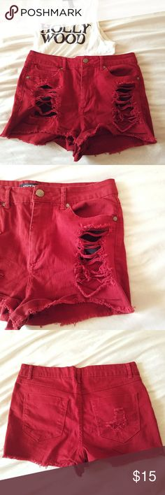 F21 distressed shorts Super cute shorts with distressing on pockets. Great condition perfect for festivals and super unique! Red color with a slightly orange tint. Forever 21 Shorts Jean Shorts