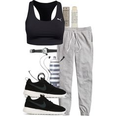 A fashion look from January 2016 featuring H&M activewear pants, Puma sports bras and NIKE sneakers. Browse and shop related looks.