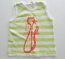 Tee-shirt débardeur jersey blanc vert chat Tutto Piccolo 18 mois filles