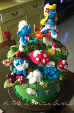 """Smurfs, lovely smurfs"" - Cake by Christian Giardina Sweet Cakes, Cute Cakes, Gorgeous Cakes, Amazing Cakes, Fantasy Cake, Character Cakes, Novelty Cakes, Fancy Cakes, Cake Creations"