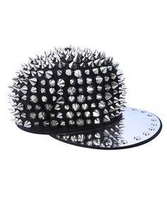Black Punk Spike Cap with Metal Brim