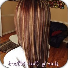 caramel and red highlights in dark brown hair - Google Search