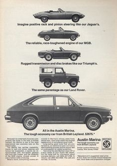 1973 British Leyland Austin Marina E Type Jaguar MGB Triumph Land Rover USA Original Magazine Advertisement Vintage Advertisements, Vintage Ads, British Sports Cars, British Car, Morris Marina, Austin Cars, Car Advertising, Thing 1, E Type